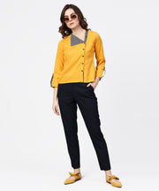 Yellow full sleeve crepe front open tops