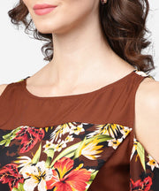 Coffee brown printed short cold shoulder crepe tops