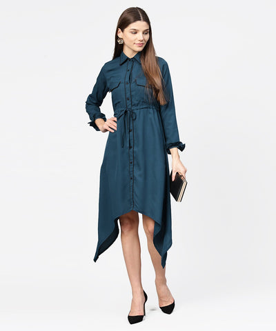 Blue full sleeve crepe front open dress with front pocket and belt