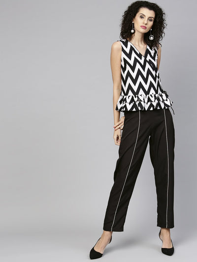 Women Black & White Printed Top with Trouser