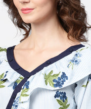 Blue striped 3/4th sleeve cold shoulder ruffle top