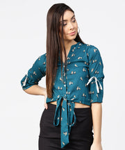 Teal blue 3/4th sleeve front open crop top with dori & Belt
