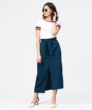 Aasi - House of Nayo Denim blue ankle length trouser with belt