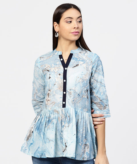 Marble Printed Chinese Collared, Pleated yoke with 3/4th Sleeves Top