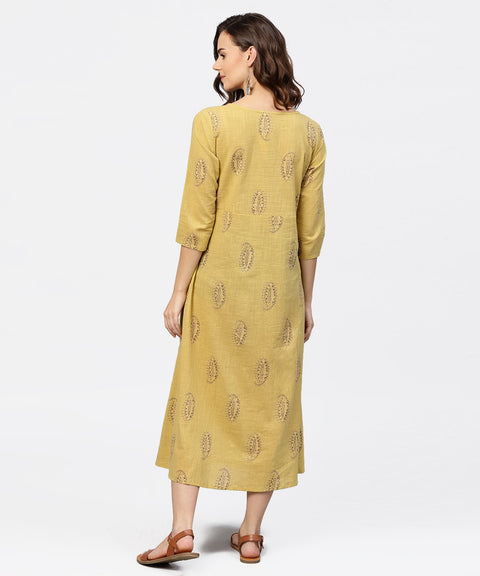 Mustard Printed Round Neck with loop and button in Front, Pleated with 3/4th Sleeves Dress