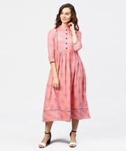 Peach Printed Chinese Collared Front open Placket till yoke with 3/4th Sleeves Maxi Dress