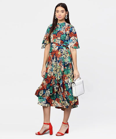 Floral Printed Chinese Collared with attached belt and 3/4th Sleeves Maxi Dress