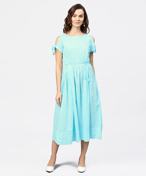 Printed Round Neck with a Draw-string at yoke and knotted short sleeves Maxi Dress