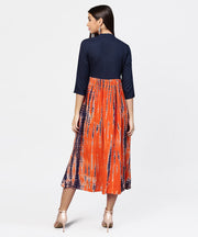 Printed tye-dye chinese collared 3/4th sleeves Maxi Dress