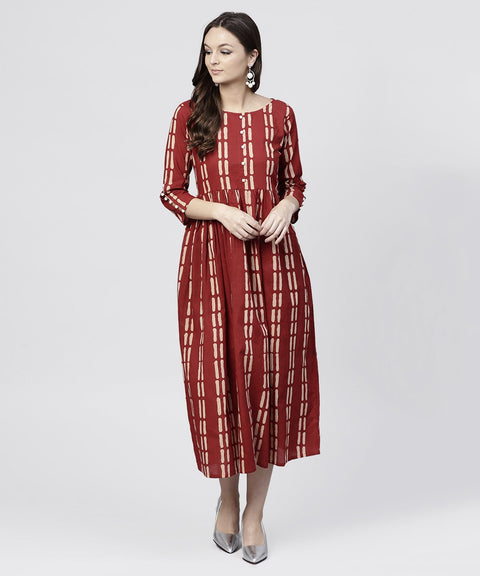 Maroon printed cotton maxi dress with 3/4 sleeve emblished with pearls