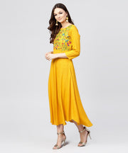 Yellow Round neck Embroidered full sleeves Rayon maxi dress