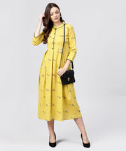 Mustard Full Sleeves Cotton Maxi dress with Madarin collar and front Placket