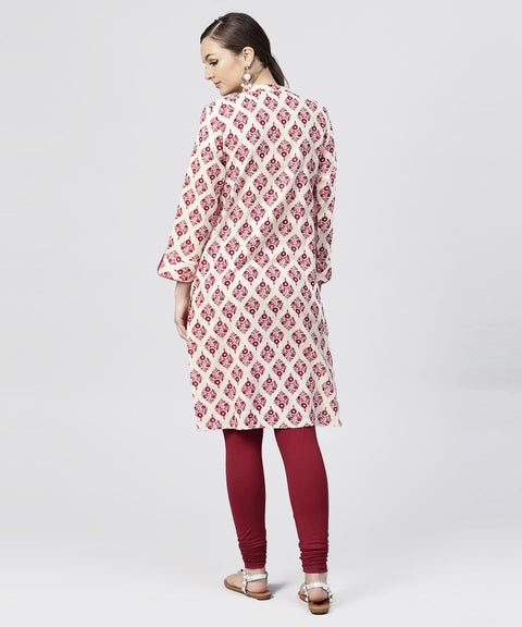 Red Printed cotton Kurta with Madarin Collar and  3/4th Sleeves