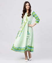 Green Printed Cotton Angrakha style dress with  Madarin collar emblished with tassels