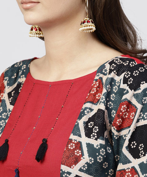 Red cotton Full sleeves kurti with an Attached Jacket and emblished with thread work and tassel