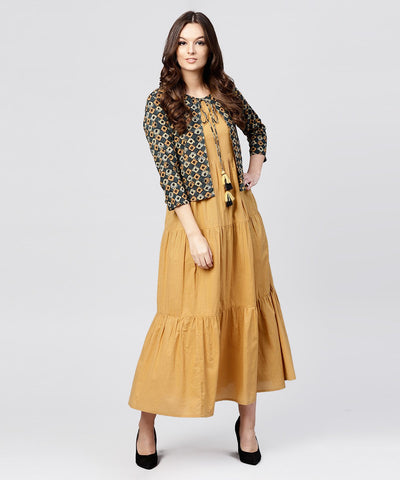 Mustard Cotton Tiered Maxi dress with Full Sleeves short jacket emblished with Tassel