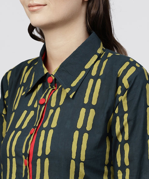 Blue cotton Printed 3/4 sleeves Kurta with shirt Collar and front Placket