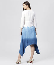 White Rayon Asymmetric Maxi Dress dyed Blue with 3/4 sleeves