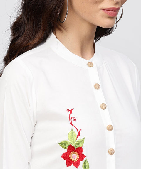 Embroidered Off white Rayon kurta with Madarin Collar
