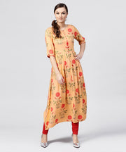 Peach Rayon calf Length Kurta with Round neck front placket