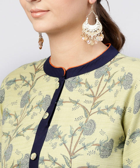 Pastel Green Printed Panelled khadi Kurta with Madarin Collar and front Placket