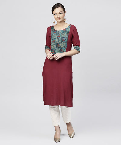 Red kurta with half sleeves and Front yoke