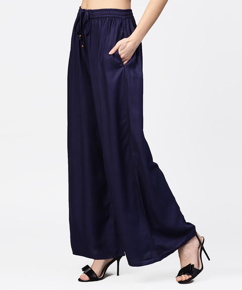 Navy blue Ankle length flared Palazzo