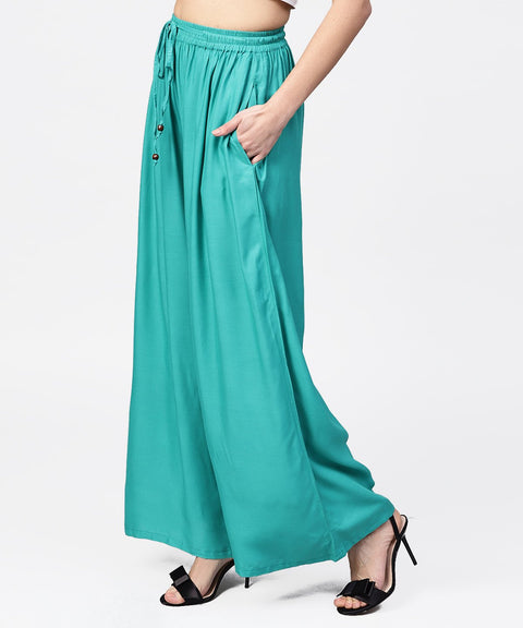 Turquoise blue flared ankle length palazzo
