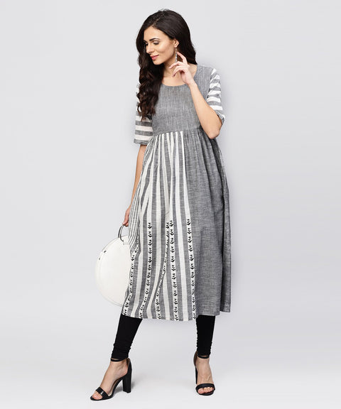 Grey and White stripes handloom Calf length Kurta with Round neck and Half sleeves