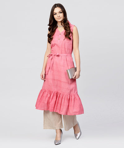 Pink cotton tiered dress with Shirt collar and front packet