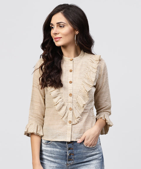 Ruffled yoke with open center placket top with pleated sleeves and Madarin collar