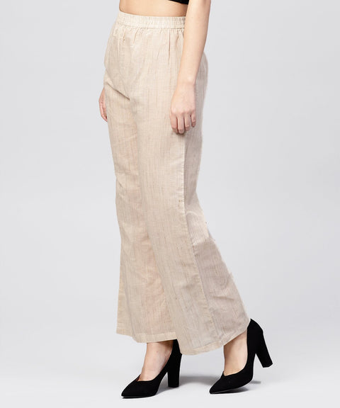 Beige pleated ankle lebgth palazzo