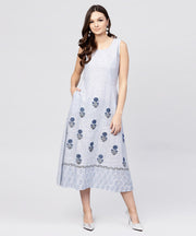 White  Sleeveless A-line Kurta with Round neck