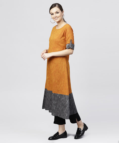 Multi colored Kurta with Round Neck and 3/4 sleeves