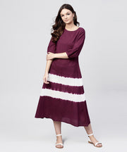 Burgundy tie and dye maxi dress with round neck and 3/4 sleeves