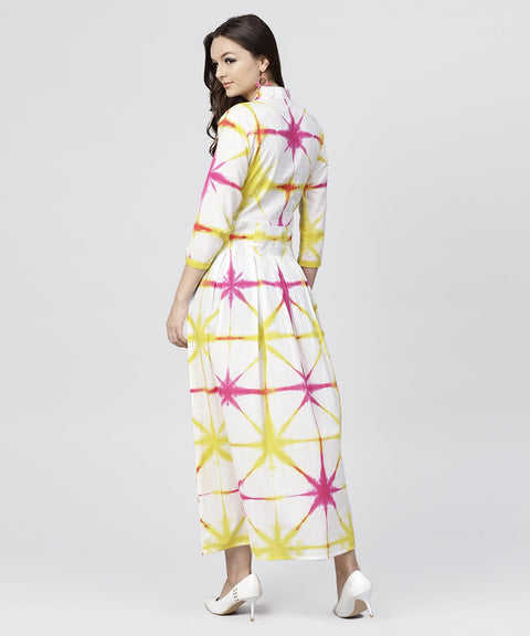 Multi tie and dyed shirt Collar maxi dress with box pleats and 3/4 sleeves
