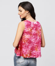 Pink colored Sleeveless top with round neck