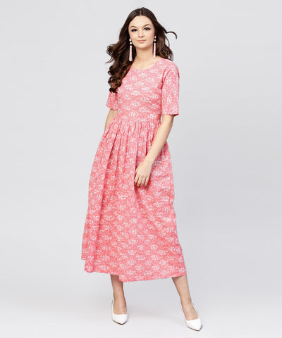 Pink printed dress with round neck and half sleeves