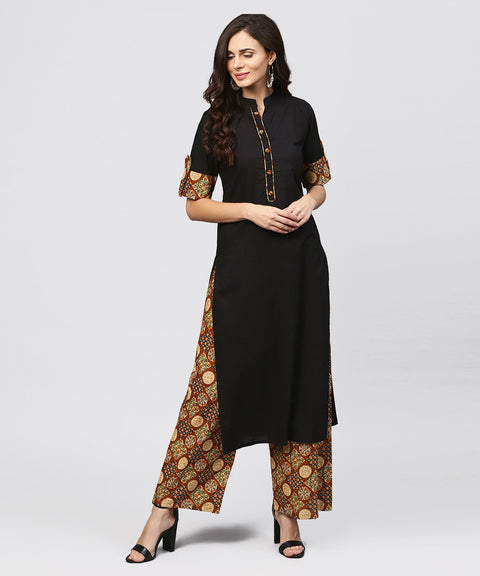 Madarin collar and front placket cotton Kurta with ankle length printed Palazzo