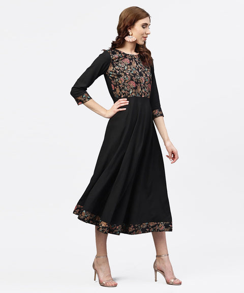 Black printed Maxi dress with Round neck and full sleeves