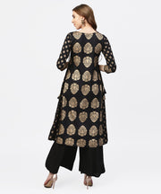 Black and gold Printed Kurta with Round neck and full sleeves