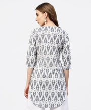 Off White Printed long top with Front Placket and 3/4 sleeves