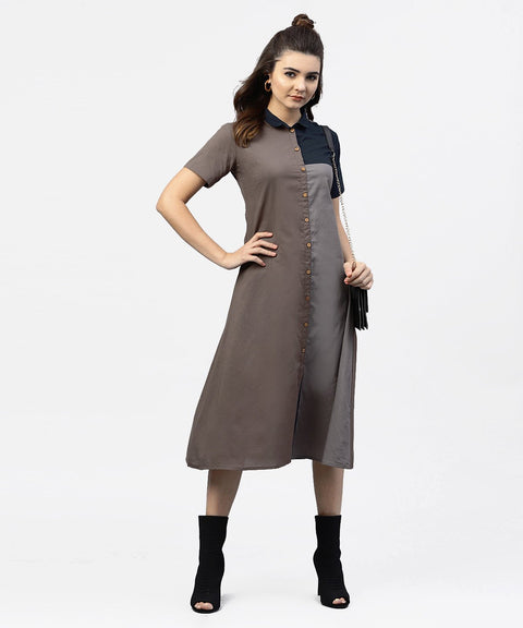 Grey and Blue Color Blocking A-Line Dress with Shirt collar and Half sleeves