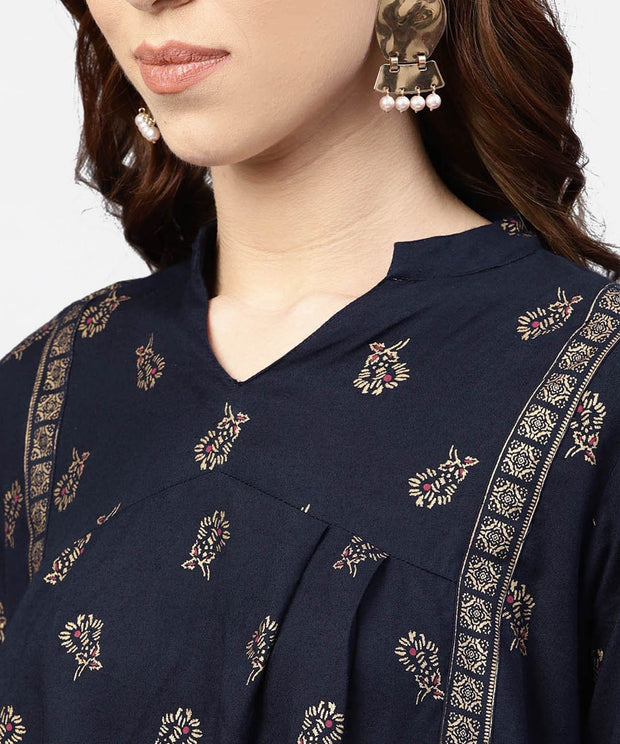 Navy Blue Printed full sleeve tunic with Madarin Collar