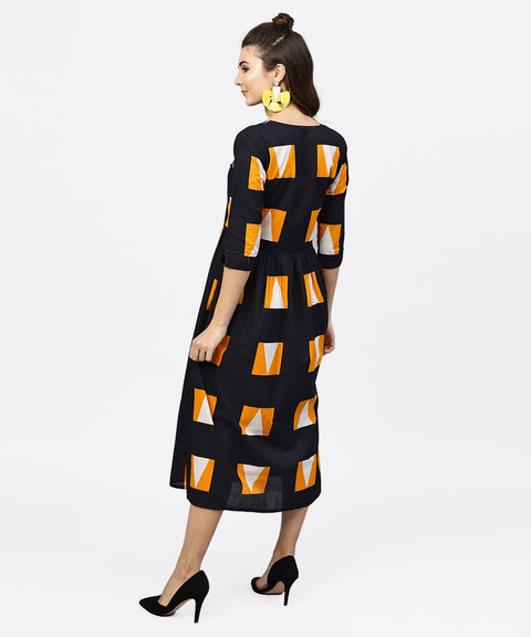 Black Round neck Printed dress with Front Placket and 3/4 sleeves