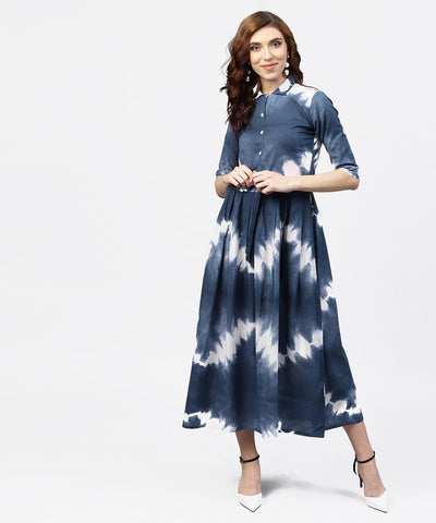 Navy blue 3/4th sleeve tie dye printed cotton A-line maxi dress with belt