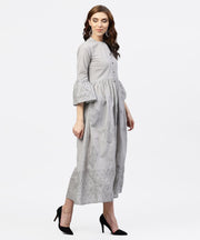 Off white block printed 3/4th sleeve maxi dress in handloom fabric