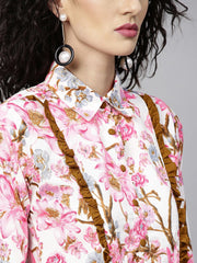 Women Pink & Mustard Yellow Printed Top with Trousers