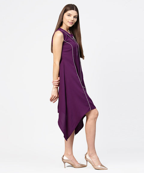 Purple sleeveless A-line dress with piping work