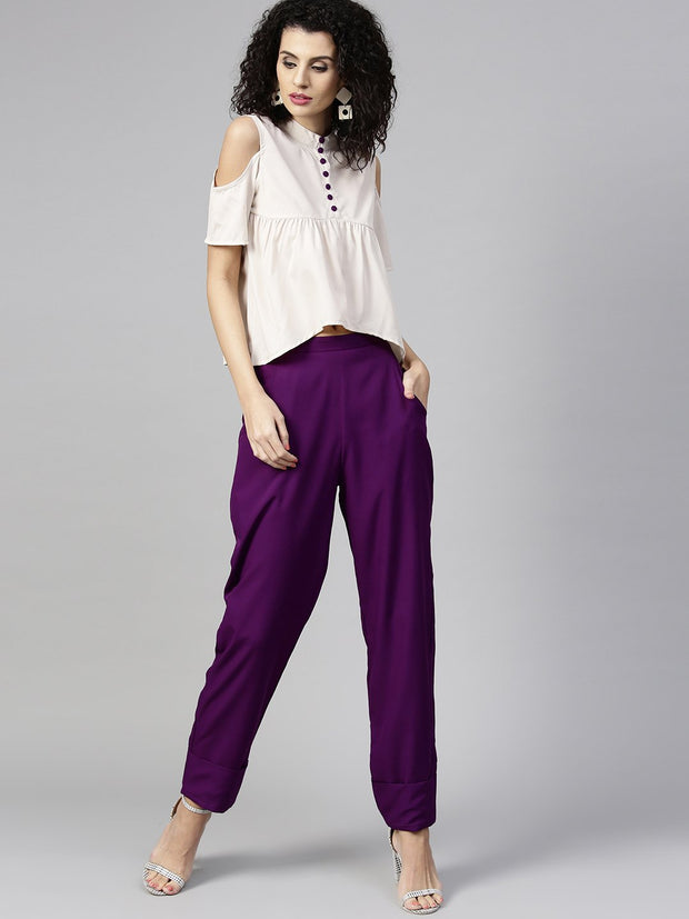 Women Off-White & Purple Solid Top with Trousers